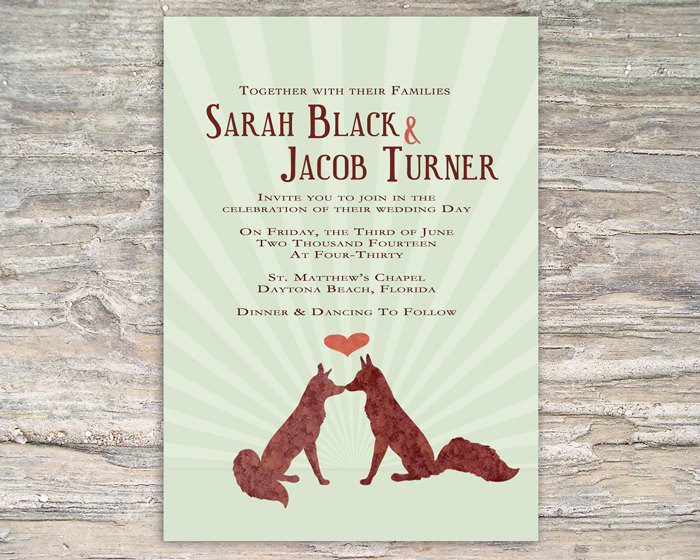 Rustic Fox Invitation - Printable DIY for wedding or event