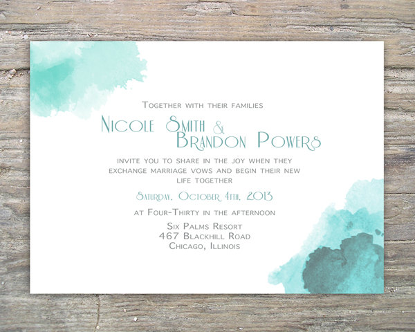 Printable Watercolor Invitation DIY For Wedding Or Special Event ...