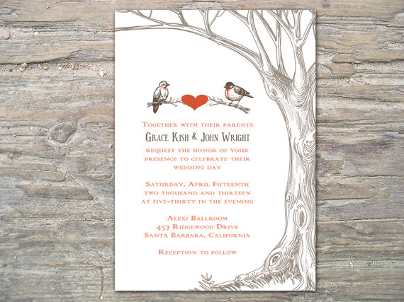 Rustic Tree And Birds Invitation Printable Diy For