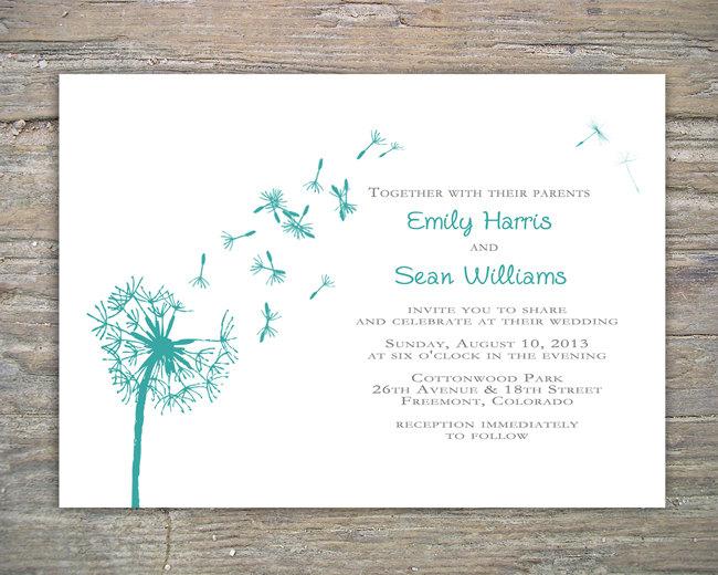 dandelion invitation printable diy for wedding or event dandelion
